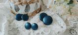 Ohrstecker metallic Blau Kunstleder