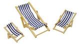 Liegestuhl klappbar blau-weiss 10cm