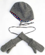 Mütze oder Handschuhe aus Walk grau