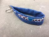Bolleby Schlüsselband Leinen und Upcycling Jeans - Blumen  rot/blau