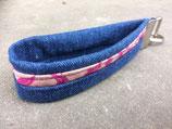 Bolleby Schlüsselband Leinen und Upcycling Jeans -  pink/blau