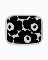 Marimekko Oiva /Unikko plate 15x12cm black/white- Teller schwarz/weiß