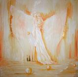 Göttin - der behutsamen Annäherung im Licht 60 x 60 cm  (gold) LEINWANDDRUCK