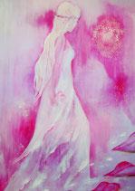 Engel  - Folge deinem Herzen mit BLUME das LEBENS  (70 x 50 cm )  LEINWANDDRUCK