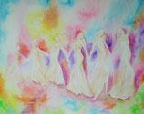 Engel-Göttinnen - in zärtlicher Verbundenheit Licht 60 x 80 cm  LEINWANDDRUCK