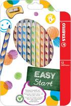 Stabilo Easy - crayons de couleur GAUCHER - 12pcs+1 taille-crayon