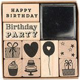 RICO set 9 tampons Happy Birthday + 1 encreur noir - 8x8cm