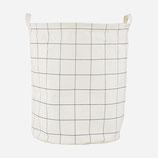 HOUSE DOCTOR corbeille à linge carreaux - coton et polyester - H:50cmxD:40cm