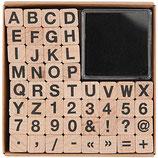 RICO set tampons lettres et chiffres + 1 encreur noir - 1 tampon fait 1x1cm