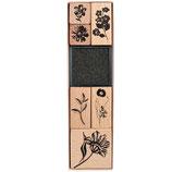 RICO set 6 tampons Nature fleur en bois + 1 encreur noir