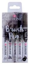 Talens brush pen - ecoline grey - 5pcs