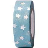 RICO tape bleu étoile argent - 15mmx10m