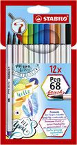 Stabilo brush pen - 12pcs