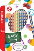 Stabilo Easy - creyons de couleur DROITIER - 12pcs+1 taille-crayon
