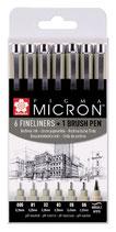 Sakura fineliner - pigma micron - set 6 fineliners+1 brush pen