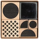 RICO set 5 tampons géométriques + 1 encreur noir