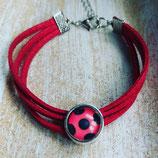 Wildlederarmband rot mit Foto 12 mm Fassung (Länge 16 cm verstellbar bis auf 22 cm )