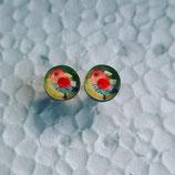 8 mm Edelstahl Ohrstecker randlos Vogel rot gelb grün