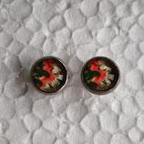 8 mm Edelstahl Ohrstecker Blumen grün weiß rot