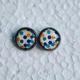 12 mm Edelstahl Ohrstecker Punkte blau gelb