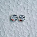 8 mm Edelstahl Ohrstecker randlos Lieblingsmensch weiß Blumen unten