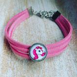 Wildlederarmband rosa mit Foto 12 mm Fassung (Länge 16 cm verstellbar bis auf 22 cm )