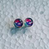 8 mm Edelstahl Ohrstecker randlos Vogel rosa blau