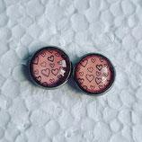 12 mm Edelstahl Ohrstecker rosa Herzen