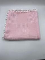 Decke einfarbig rosa (mit Bommel)