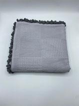 Decke einfarbig grau (mit Bommel)