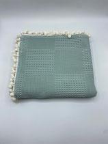 Decke einfarbig mint (mit Bommel)