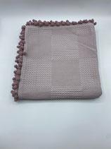 Decke einfarbig rot/braun (mit Bommel)