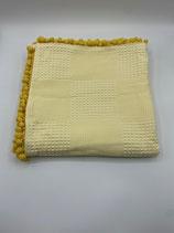 Decke einfarbig gelb (mit Bommel)