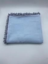 Decke einfarbig blau (mit Bommel)