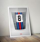 "Poster: Porsche 911 Motorhaube ""Martini"""