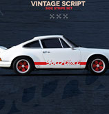 Aufkleber Seitenschweller, Vintage Look, entspricht (Nachbildung ) der frühen Porsche 911 RS
