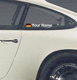 "Flagge + Schriftzug ""Your Name"" passend zum Porsche 911 Heckfenster"