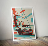 Poster: Ferdinand Porsche with Liege Rome Rally Porsche 356 (poster, vertical)