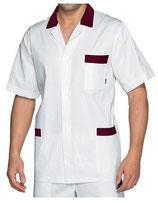 Camice Corto Uomo Bianco/Rosso
