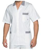 Camice Corto Uomo Bianco/Blu a Righe