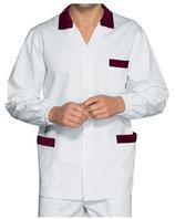 Camice Corto Manica Lunga Uomo Bianco/Bordeaux