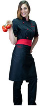 Giacca chef donna nera/rossa M/C