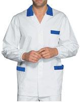 Camice Corto Manica Lunga Uomo Bianco/Blu