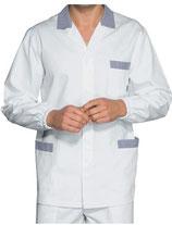 Camice Corto Manica Lunga Uomo Bianco/Blu a Righe