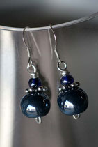 Boucles d'oreilles céramique bleu marine