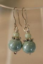 Boucles d'oreilles céramique vert d'eau