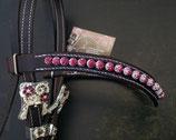 Lederstirnriemen geschwungen mit Shamballa-Perlen, Rindsnappa unterlegt