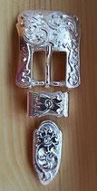 2x Belt Schnallen- Set Silber