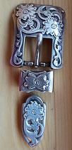 2x Belt Schnallen- Set Antiksilber