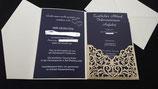 Einladungskarte 4teilig mit Lasercut
